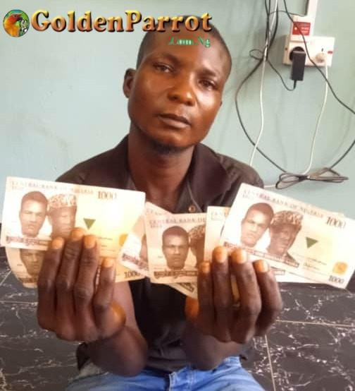 NEWS UPDATE:- Police Officers arrest man with fake Naira notes in Adamawa State.(See Photo).